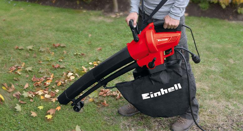 leaf vacuums from Einhell come with a big collection sack