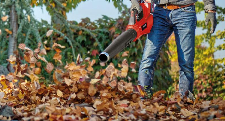 man uses cordless leaf blower from Einhell