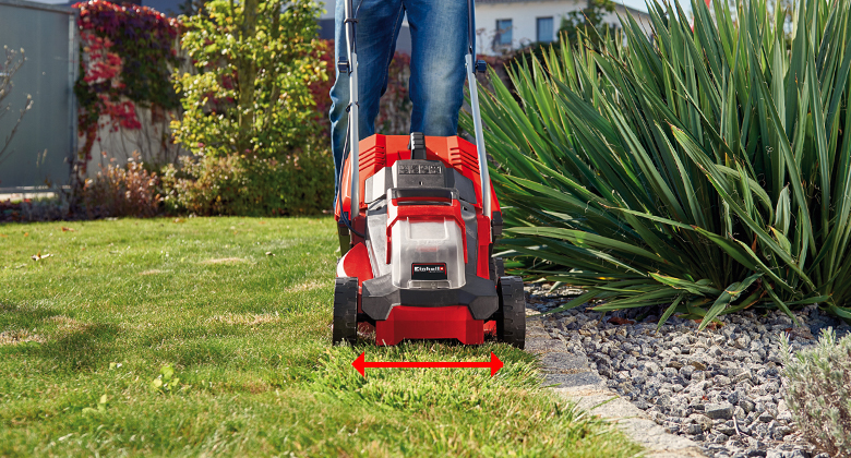 Display of the cutting width of an Einhell lawnmower
